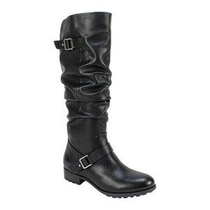 NIB Black Ruched Buckle Detail Tall Boots